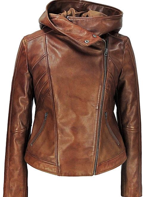 Sasha High Fashion Womens Hooded 100% Lambskin Leather Jacket