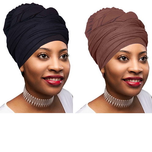 2 Pcs Black and Chocolate Brown Solid Color Head Wrap Stretch Long Hair Turban