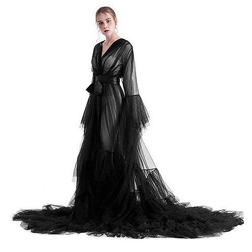 Bridal Dressing Robe Tulle Illusion Long Wedding Scarf Lingerie Robe