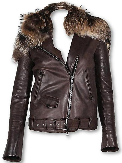 Womens Fur Collar Biker 100% Lambskin Leather Jacket