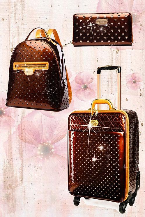 Starz Art 3PC Set | Luxury Vegan Leather Overnight Bag Set/Spinning Wheels