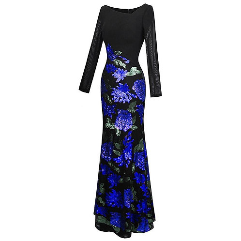 Women's Long Sleeve Pattern Blue Flower Sequin Beading Evening Dress
