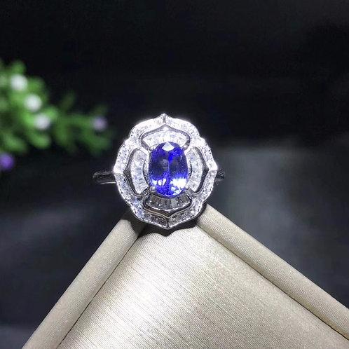 Natural Tested Tanzanite Gemstone Ring, 925