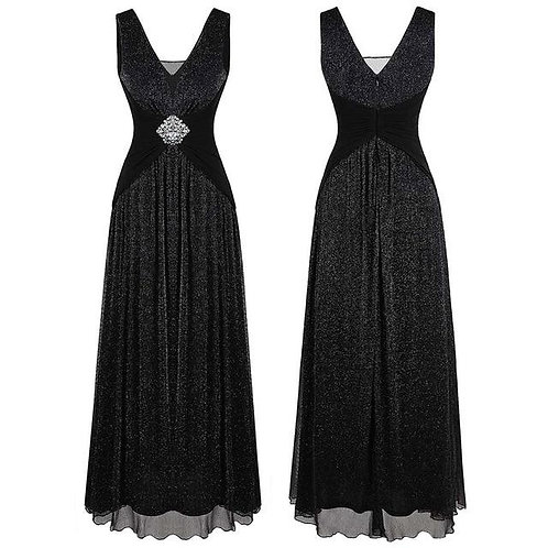 Women's V Neck Pleated Beading Evening Dress Long A Line Formal Party