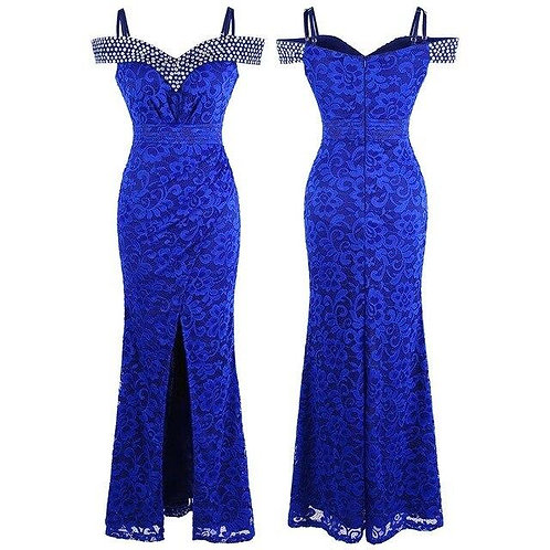 Women's Beading Boat Neck Lace Pleated Party Gown Slit Long Formal