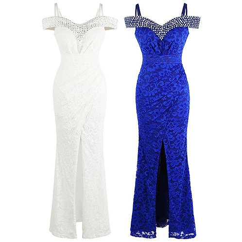 New Lace Wedding Dress Boat Neck Beading Slit Formal Party Gown White