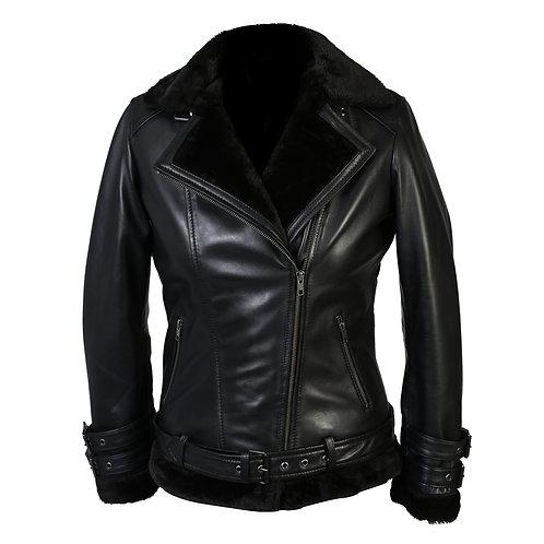 100% Lambskin Leather Women's Sylvia Black Shearling Fur