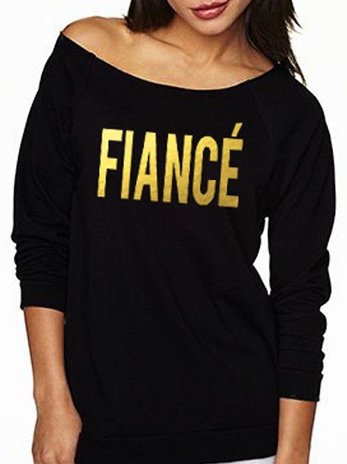 FIANCE Off-Shoulder Long Sleeve Shirt - Gold Foil