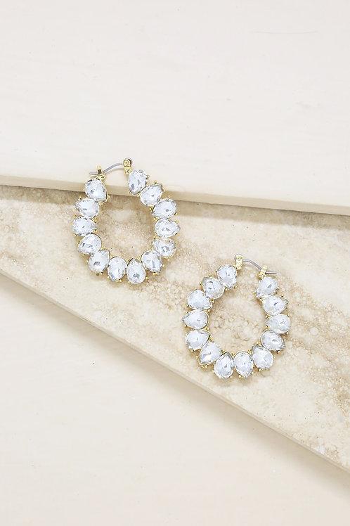 Statement Crystal Hoop 18k Gold Plated Earrings