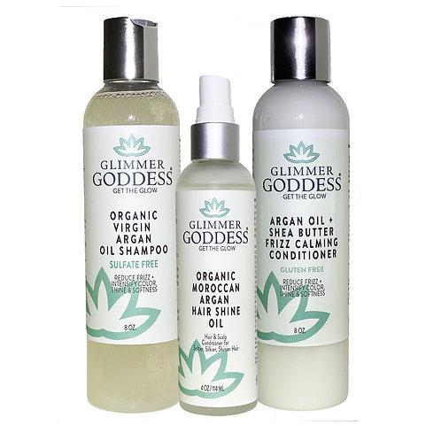 Organic Argan Oil Shampoo + Conditioner + Hair Shine Spray