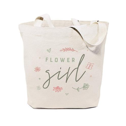 Floral Flower Girl Wedding Cotton Canvas Tote Bag