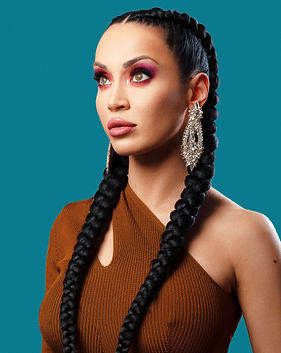 Beauty portrait of woman with braids and