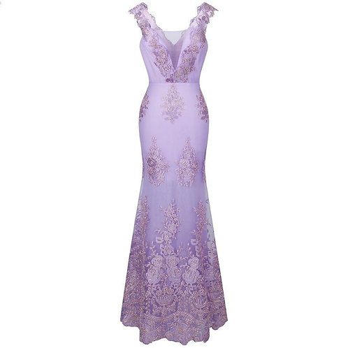 Spaghetti Strap Embroidery Floral Evening Dress long Mermaid Wedding
