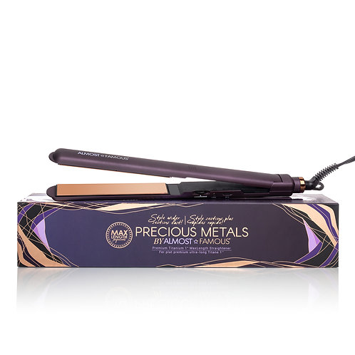 """Almost Famous 1"""" MaxLength Flat Iron with Rose Gold Titanium Plates"""