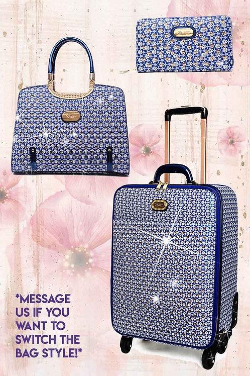 Galaxy Stars 3PC Set   Crystal Vegan Leather Luggage & Handbag