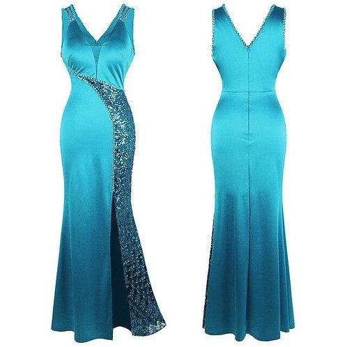 Women's V Neck Beading Sequin Splicing Evening Dresses Long Formal