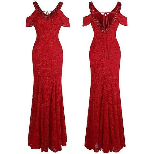 Women's Off Shoulder V Neck Lace Evening Dresses Long Wedding Party