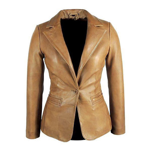 Womens Tapered Tan Leather Blazer Awesome 100% Lambskin