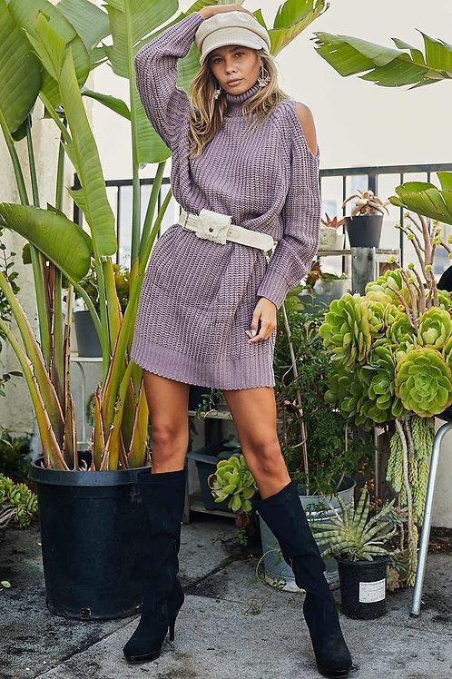 Turtle Neck Cold Shoulder Oversize Sweater Dress