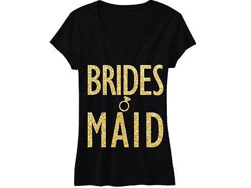 BRIDESMAID Gold GLITTER Shirt Black Vneck