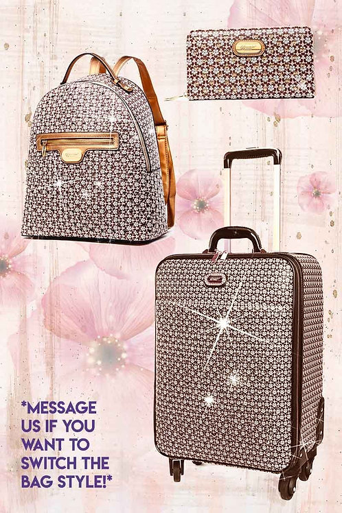 Galaxy Stars 3PC Set | Luxury Vegan Leather & Crystal Backpack & Luggage