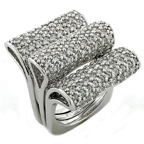 LOAS1047 Rhodium 925 Sterling Silver Ring with AAA