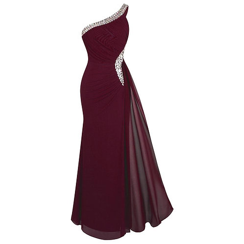 Women's One Shoulder Evening Dress Long Pleated Beading Formal Party