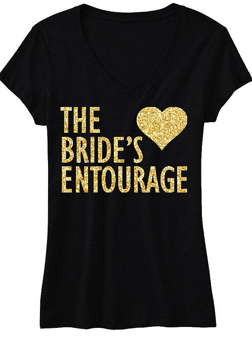 BRIDE'S ENTOURAGE Gold GLITTER Shirt Black V-neck
