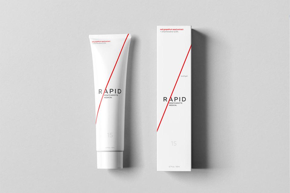 Логотип, айдентика иупаковка для линии RAPID бренда Montcarotte Medical