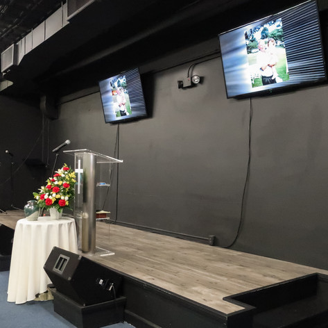Church Stage During Memorial Service