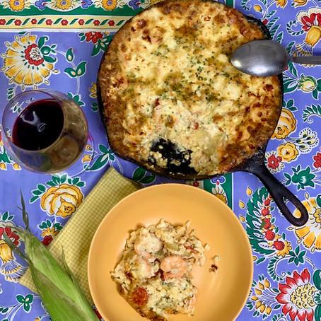 Custard Cornbread with Tarvin Shrimp, Cherry Tomatoes & Feta