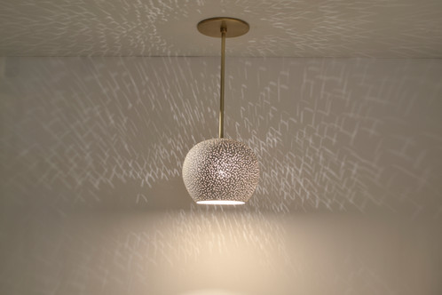 Modern Ceiling Lighting-Clay light Pendant with Brass Rod
