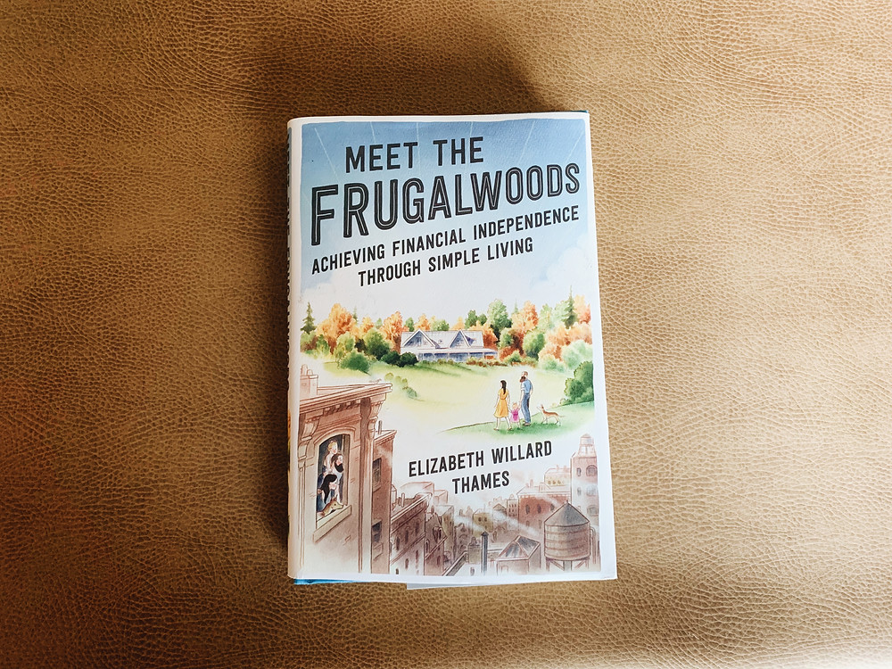 Cover of Meet the Frugalwoods on a brown tablecloth
