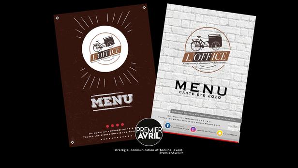Création des menus du restaurant L'OFFICE.