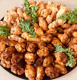 Plain or bbq Wing ding tray 60pc ofwings fully cooked hot and ready