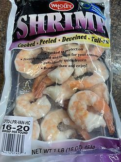 Jumbo cooked shrimp 16 per lb 1 lb bag