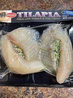 Spinach and feta stuffed tilapia each