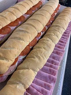 3 foot turkey and Swiss sandwich feeds 12 people cut & trayed