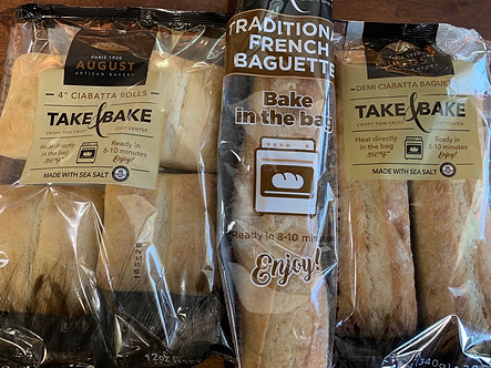 Take & bake Baguette bread or Ciabatta rolls