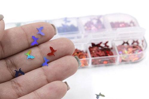 DECO Apliques para uñas mariposas. Varios colores. 12 compartimientos.