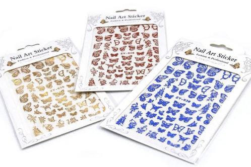 DECO Stickers para decoraciones de uñas con diseño de mariposas. 8 colores difer