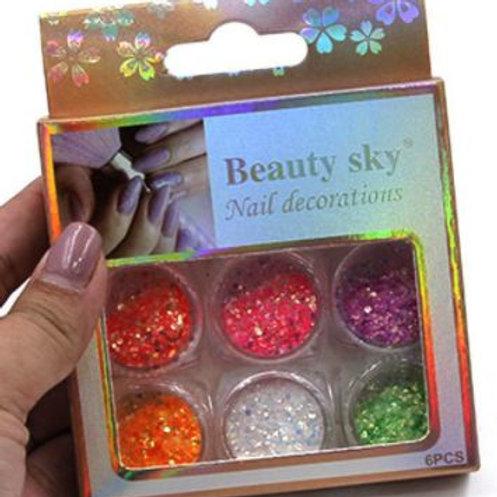 DECO Pack de 6 decorados surtidos para uñas. 6 Diferentes modelos.