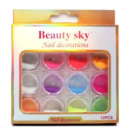 DECO Polvo Beauty Nail para uñas. Viene pack de 12 colores surtidos.