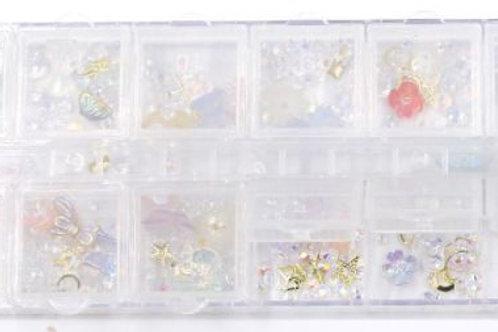 DECO Kit de aplicaciones para uñas. Incluye: strass, moños, flores, etc