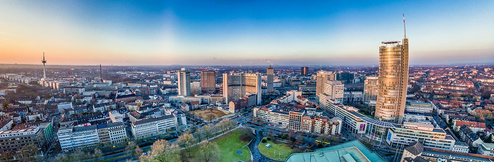 The city skyline of Essen under the suns