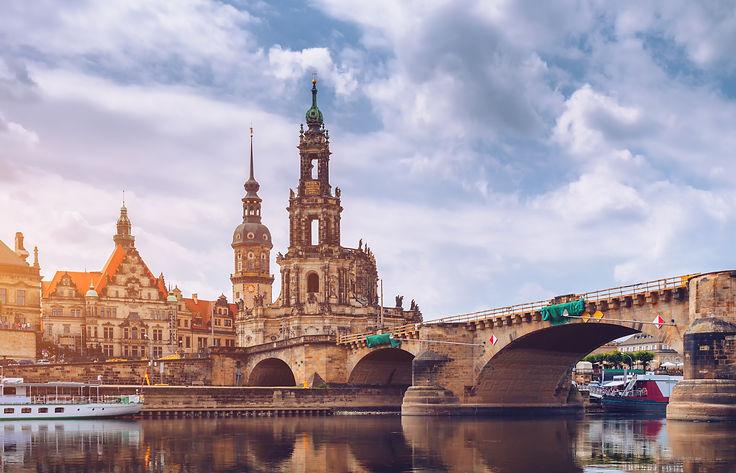 Dresden city skyline panorama at Elbe Ri