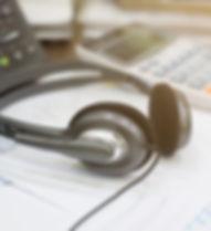 close up soft focus headphone call centr