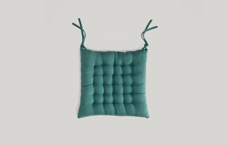 Teal Tufted Seat Cushion