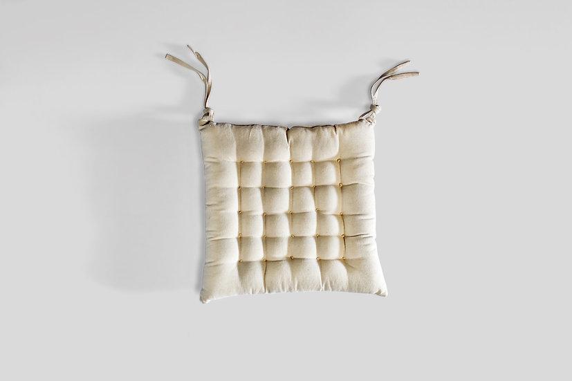 Cream Tufted Seat Cushion