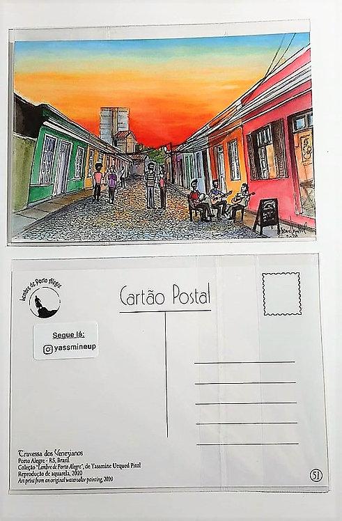 Kit com cinco  cartões postais - Travessa dos Venezianos